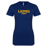 Next Level Ladies SoftStyle Junior Fitted Navy Tee-Lions Mom