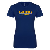 Next Level Ladies SoftStyle Junior Fitted Navy Tee-Lions Alumni