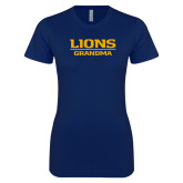 Next Level Ladies SoftStyle Junior Fitted Navy Tee-Lions Grandma