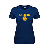 Ladies Navy T Shirt-Stacked Lions with Head