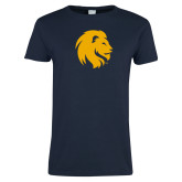 Ladies Navy T Shirt-Mascot Logo