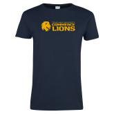 Ladies Navy T Shirt-TAMUC Lions