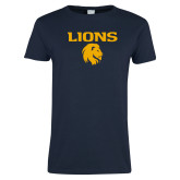 Ladies Navy T Shirt-Lions Mascot