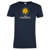 Ladies Navy T Shirt-Primary Distressed
