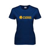 Ladies Navy T Shirt-Flat A&M Commerce Lions