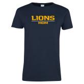 Ladies Navy T Shirt-Lions Mom