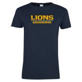 Ladies Navy T Shirt-Lions Grandma