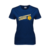Ladies Navy T Shirt-Angled A&M Commerce Lions