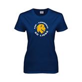 Ladies Navy T Shirt-A&M Commerce Round Design