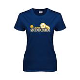 Ladies Navy T Shirt-Soccer Swoosh