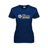 Ladies Navy T Shirt-Softball Script