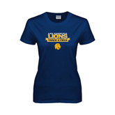 Ladies Navy T Shirt-Track and Field Stacked Ribbon Design