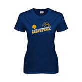Ladies Navy T Shirt-Angled Basketball Design