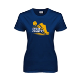 Ladies Navy T Shirt-Cross Country Shoe Design