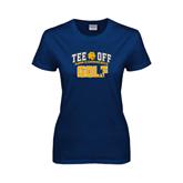 Ladies Navy T Shirt-Tee Off Golf Design
