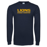 Navy Long Sleeve T Shirt-Lions Cross Country
