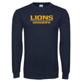 Navy Long Sleeve T Shirt-Lions Grandpa