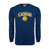 Navy Long Sleeve T Shirt-Arched A&M Commerce Lions