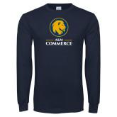 Navy Long Sleeve T Shirt-Mascot AM Commerce