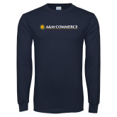 Navy Long Sleeve T Shirt-AM Commerce