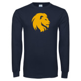 Navy Long Sleeve T Shirt-Mascot Logo