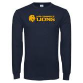 Navy Long Sleeve T Shirt-AM Commerce Lions