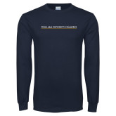 Navy Long Sleeve T Shirt-TAMUC Wordmark