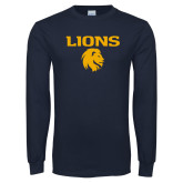 Navy Long Sleeve T Shirt-Lions Mascot