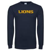 Navy Long Sleeve T Shirt-Lions