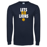 Navy Long Sleeve T Shirt-Lets Go Lions