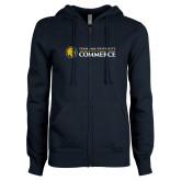 ENZA Ladies Navy Fleece Full Zip Hoodie-Texas A&M University Commerce