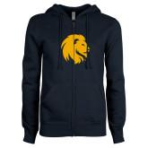 ENZA Ladies Navy Fleece Full Zip Hoodie-Mascot Logo
