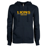 ENZA Ladies Navy Fleece Full Zip Hoodie-Lions Soccer