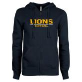 ENZA Ladies Navy Fleece Full Zip Hoodie-Lions Softball