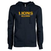 ENZA Ladies Navy Fleece Full Zip Hoodie-Lions Alumni