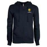 ENZA Ladies Navy Fleece Full Zip Hoodie-Mascot AM Commerce