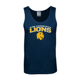 Navy Tank Top-Arched A&M Commerce Lions