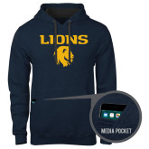 Contemporary Sofspun Navy Heather Hoodie-Stacked Lions with Head