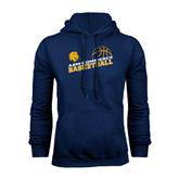 Navy Fleece Hoodie-Angled Basketball Design