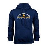Navy Fleece Hoodie-Arched Football Design