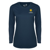 Ladies Syntrel Performance Navy Longsleeve Shirt-Mascot AM Commerce