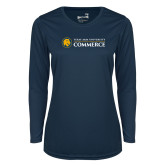 Ladies Syntrel Performance Navy Longsleeve Shirt-Texas A&M University Commerce