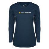 Ladies Syntrel Performance Navy Longsleeve Shirt-AM Commerce