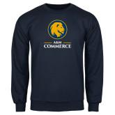 Navy Fleece Crew-Mascot AM Commerce
