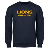Navy Fleece Crew-Lions Grandpa