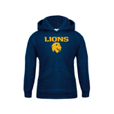 Youth Navy Fleece Hoodie-Stacked Lions with Head