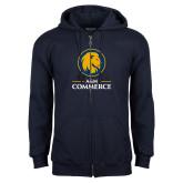 Navy Fleece Full Zip Hoodie-Mascot AM Commerce