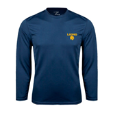 Syntrel Performance Navy Longsleeve Shirt-Stacked Lions with Head