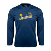 Syntrel Performance Navy Longsleeve Shirt-Angled Basketball Design