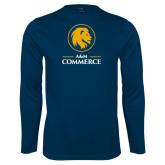 Performance Navy Longsleeve Shirt-Mascot AM Commerce